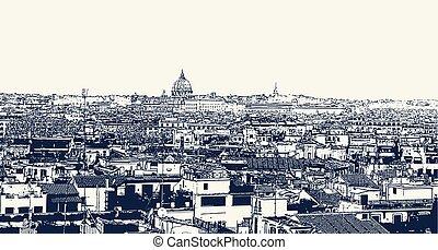 vektor, rom, avbild, italien, synhåll, versal stad