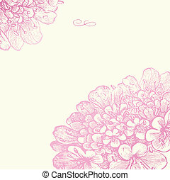 vektor, rosa, blommig, fyrkant, ram