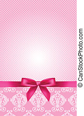 vektor, rosa, tapete, mit, schleife