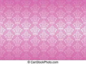 vektor, rosa, tapete