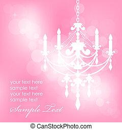 vektor, rosafarbener hintergrund, mit, chandel