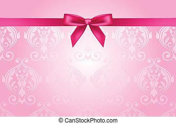 vektor, rosafarbener hintergrund, mit, schleife