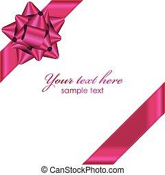vektor, rosafarbenes band, mit, schleife