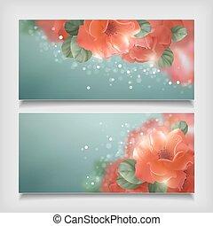 vektor, rosen, blumen, banner, blank