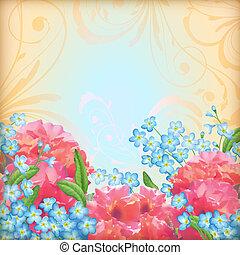 vektor, rosen, blumen, retro, hintergrund