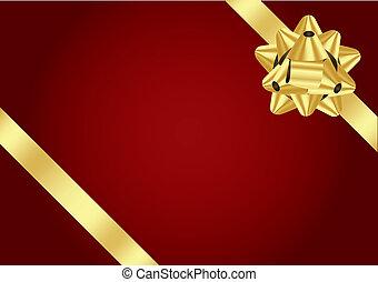 vektor, roter hintergrund, mit, goldbogen