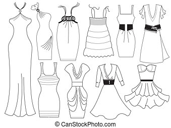 vektor, ruha, nő, white.fashion, öltözék