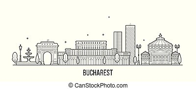 vektor, rumänien, bucharest, gebäude stadt, skyline