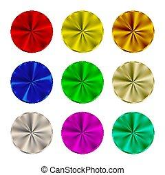 vektor, runda, metallisk, illustration, knäppas, set., tom, button., stål, färgad, mall