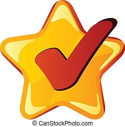 vektor, sárga, checkmark, csillag