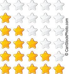 vektor, sárga, fényes, értékelés, csillaggal díszít