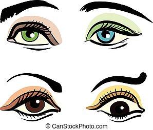 vektor, sätta, ögon, illustration