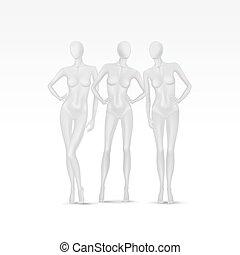 vektor, sätta, av, isolerat, kvinnlig, skyltdocka