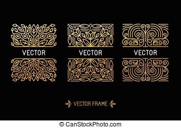 vektor, sätta, av, linjär, inramar, och, flo