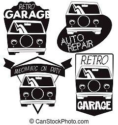 vektor, sätta, av, retro, bil, garage, logo.