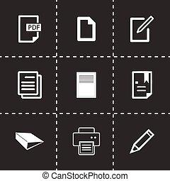 vektor, sätta, dokument, ikonen