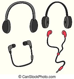 vektor, sätta, earpiece, radiolur