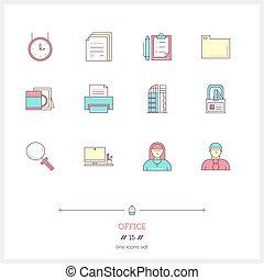 vektor, sätta, elements., ämbete ikon, färg, administration, utrustning, objekt, illustration, tid, logo, fodra, redskapen, ikon