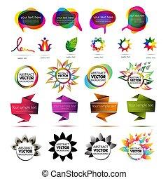 vektor, sätta, färgrik, bubble., abstrakt, form., etikett, banners., infographic, design, annonsering, vector., cloud., origami, anförande, tag., elementara, talande