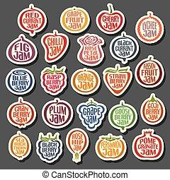 vektor, sätta, färgrik, ikonen, marmelad, frukter