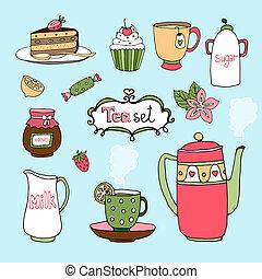 vektor, sätta, hand-drawn, tårta, ikonen, te