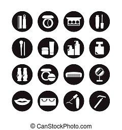vektor, sätta, ikonen, kosmetika, skönhet