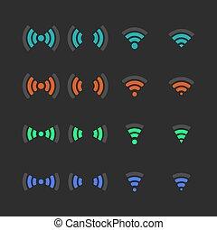 vektor, sätta, illustration., ikonen, radio