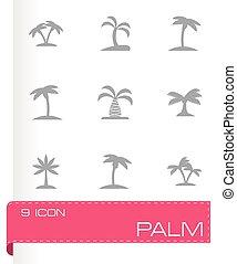vektor, sätta, palm, ikon