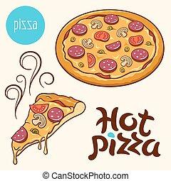 vektor, sätta, pizza