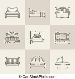vektor, sätta, säng, ikon