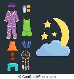 vektor, sätta, sömn, illustration, ikonen