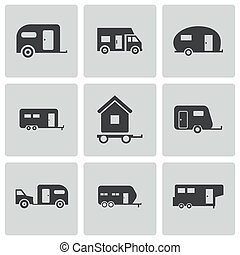 vektor, sätta, svart, släpvagn, ikonen