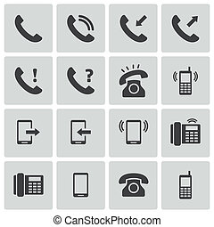 vektor, sätta, svarta telefonera, ikonen
