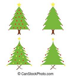 vektor, sätta, träd, jul