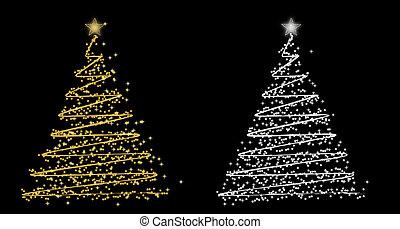 vektor, sätta, träd, jul, rwo