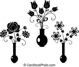 vektor, sæt, blomster, silhuet, 3