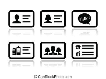vektor, sæt, branche card, iconerne