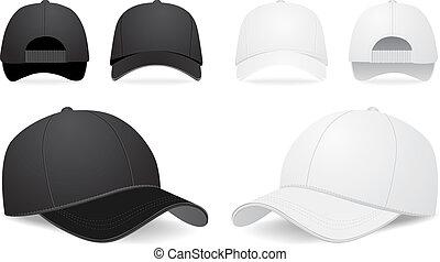 vektor, sæt, cap, baseball