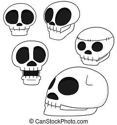 vektor, sæt, cartoon, kranium