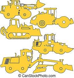vektor, sæt, equipment., illustration, silhuetter, konstruktion, vej