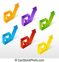 vektor, sæt, farverig, pil