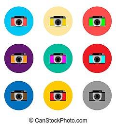 vektor, sæt, fotografi, illustration, symboler, kamera, logo, lenses, ikon