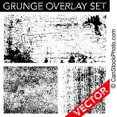 vektor, sæt, grunge, overlay