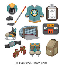vektor, sæt, hockey, is, ikon