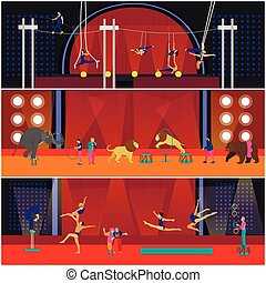 vektor, sæt, i, cirkus, interior, begreb, banners., akrobater, og, kunstnere, opføre, forevise, ind, arena.
