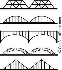 vektor, sæt, i, forskellige, broer, sammenhænge