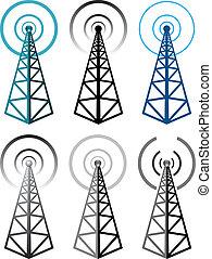 vektor, sæt, i, radio tårn, symboler