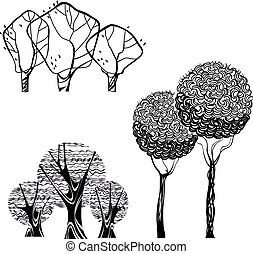vektor, sæt, isoleret, træer, stok