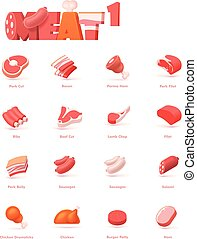 vektor, sæt, kød, ikon