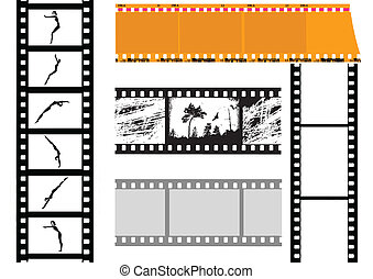 vektor, sæt, kamera film, på hvide, baggrund